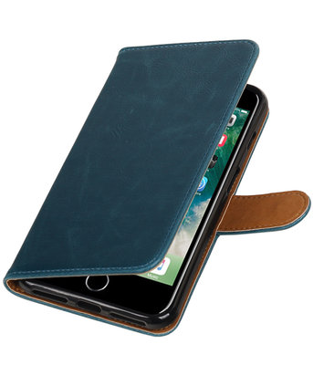 Blauw Pull-Up PU booktype wallet voor Hoesje voor Apple iPhone 7 Plus / 8 Plus