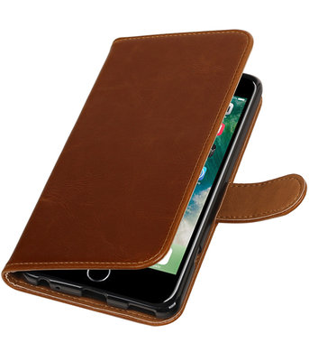 Bruin Pull-Up PU booktype wallet voor Hoesje voor Apple iPhone 7 Plus / 8 Plus