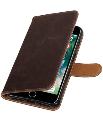 Mocca Pull-Up PU booktype wallet voor Hoesje voor Apple iPhone 7 Plus / 8 Plus