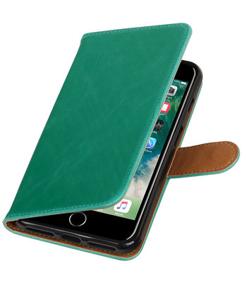 Groen Pull-Up PU booktype wallet voor Hoesje voor Apple iPhone 7 Plus / 8 Plus