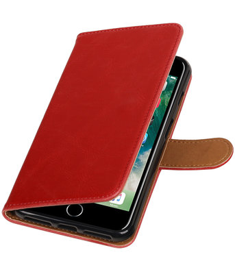Rood Pull-Up PU booktype wallet voor Hoesje voor Apple iPhone 7 Plus / 8 Plus