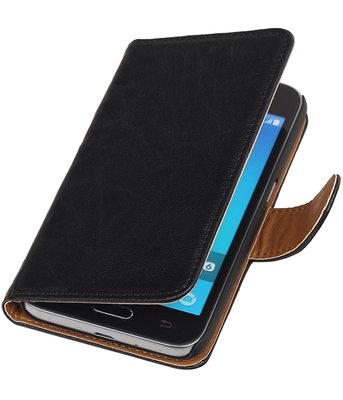 Zwart Echt Leer Leder booktype wallet voor Hoesje voor Samsung Galaxy J1 2016