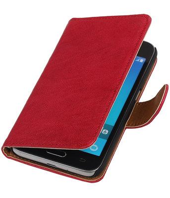 Roze Echt Leer Leder booktype wallet voor Hoesje voor Samsung Galaxy J1 2016