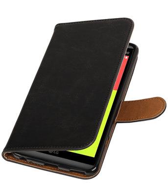 Zwart Pull-Up PU booktype wallet voor Hoesje voor LG V20