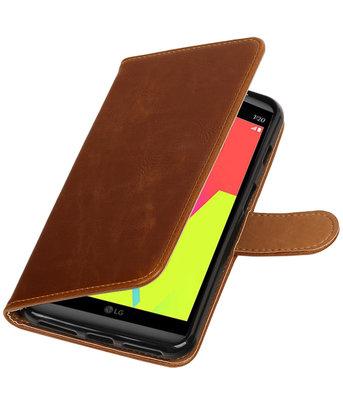 Bruin Pull-Up PU booktype wallet voor Hoesje voor LG V20