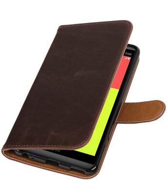 Mocca Pull-Up PU booktype wallet voor Hoesje voor LG V20