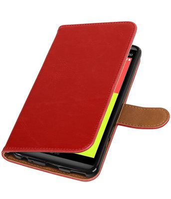 Rood Pull-Up PU booktype wallet voor Hoesje voor LG V20
