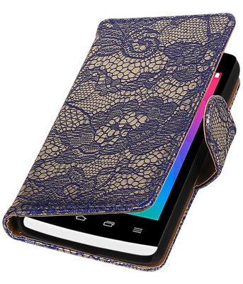 Blauw Lace booktype wallet cover voor Hoesje voor LG Joy