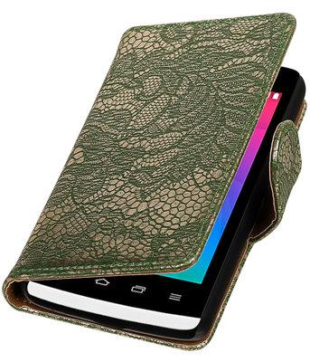 Donker Groen Lace booktype wallet cover voor Hoesje voor LG Joy