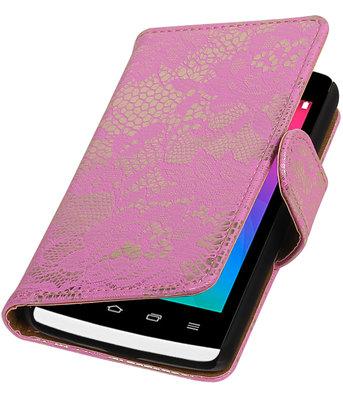Roze Lace booktype wallet cover voor Hoesje voor LG Joy