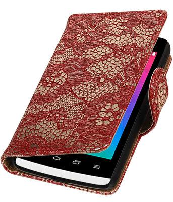 Rood Lace booktype wallet cover voor Hoesje voor LG Joy