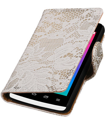 Wit Lace booktype wallet cover voor Hoesje voor LG Joy