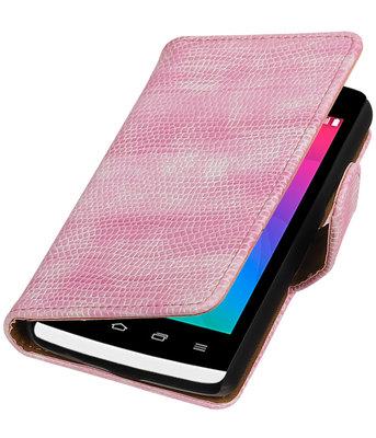 Roze Mini Slang booktype wallet cover voor Hoesje voor LG Joy