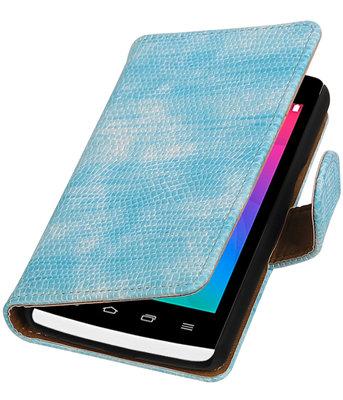 Turquoise Mini Slang booktype wallet cover voor Hoesje voor LG Joy