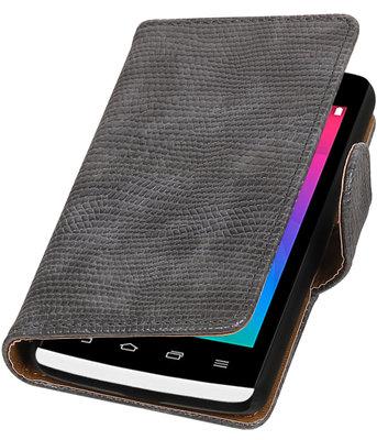 Grijs Mini Slang booktype wallet cover voor Hoesje voor LG Joy