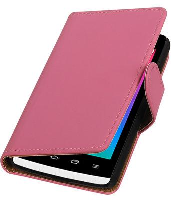 Roze Effen booktype wallet cover voor Hoesje voor LG Joy