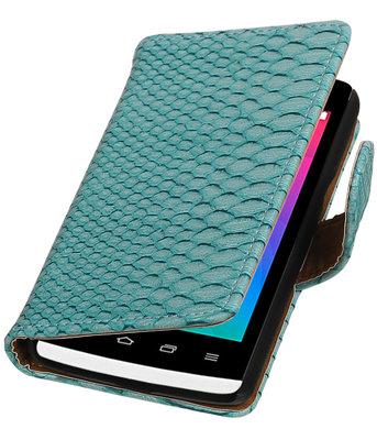 Turquoise Slang booktype wallet cover voor Hoesje voor LG Joy