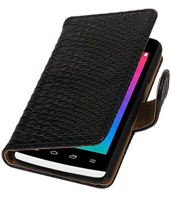Zwart Slang booktype wallet cover voor Hoesje voor LG Joy