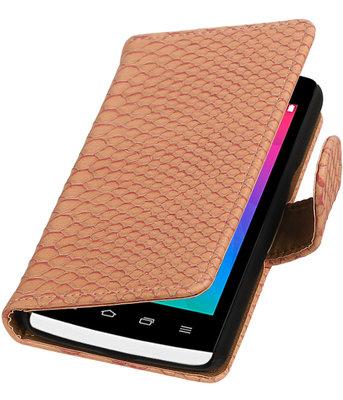 Roze Slang booktype wallet cover voor Hoesje voor LG Joy