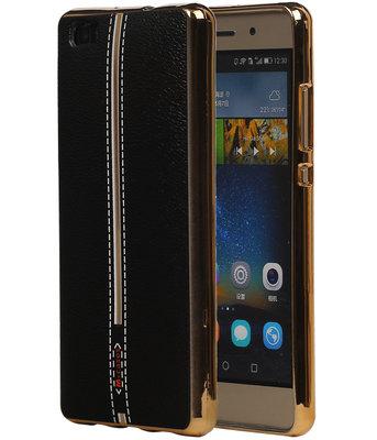 M-Cases Zwart Leder Design TPU back case cover hoesje voor Huawei P8 Lite