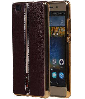 M-Cases Bruin Leder Design TPU back case cover voor Hoesje voor Huawei P8 Lite