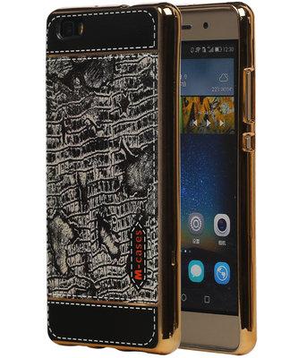 M-Cases Zwart Krokodil Design TPU back case cover hoesje voor Huawei P8 Lite