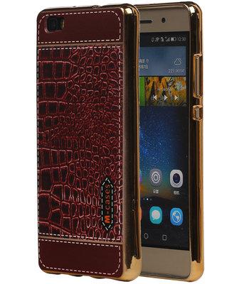 M-Cases Bruin Krokodil Design TPU back case cover voor Hoesje voor Huawei P8 Lite