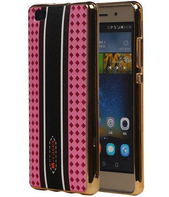 M-Cases Roze Ruit Design TPU back case cover voor Hoesje voor Huawei P8 Lite