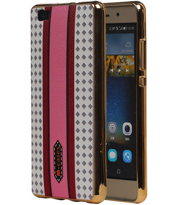 M-Cases Roze Paars Ruit Design TPU back case cover hoesje voor Huawei P8 Lite