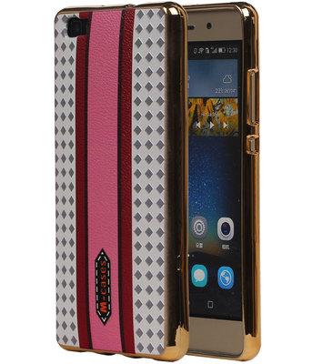 M-Cases Roze Paars Ruit Design TPU back case cover voor Hoesje voor Huawei P8 Lite