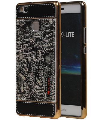 M-Cases Zwart Krokodil Design TPU back case cover voor Hoesje voor Huawei P9 Lite