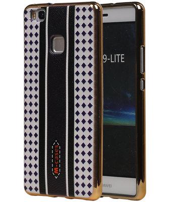 M-Cases Bruin Paars Ruit Design TPU back case cover voor Hoesje voor Huawei P9 Lite