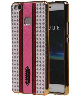 M-Cases Roze Paars Ruit Design TPU back case cover voor Hoesje voor Huawei P9 Lite