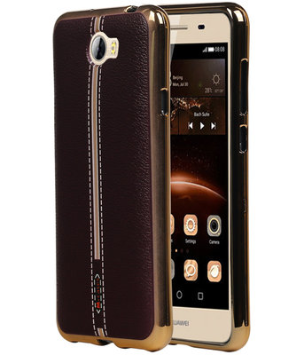 M-Cases Bruin Leder Design TPU back case cover voor Hoesje voor Huawei Y5 II