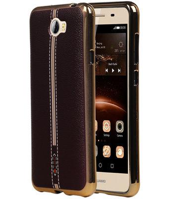 M-Cases Bruin Leder Design TPU back case cover hoesje voor Huawei Y5 II