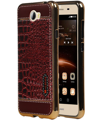 M-Cases Bruin Krokodil Design TPU back case cover voor Hoesje voor Huawei Y5 II
