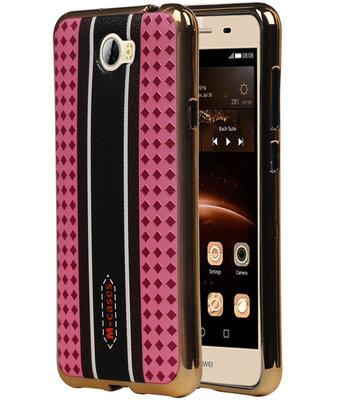 M-Cases Roze Ruit Design TPU back case cover hoesje voor Huawei Y5 II