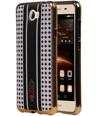 M-Cases Bruin Paars Ruit Design TPU back case cover voor Hoesje voor Huawei Y5 II