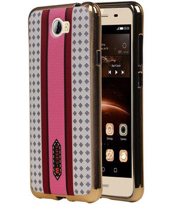 M-Cases Roze Paars Ruit Design TPU back case cover voor Hoesje voor Huawei Y5 II