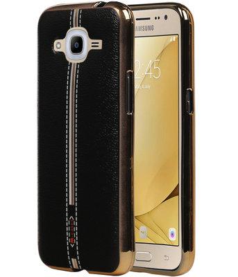 M-Cases Zwart Leder Design TPU back case voor Hoesje voor Samsung Galaxy J2 2016