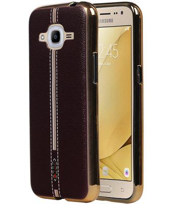 M-Cases Bruin Leder Design TPU back case voor Hoesje voor Samsung Galaxy J2 2016
