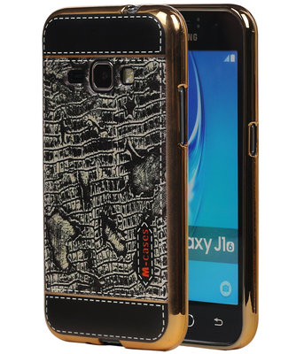 M-Cases Zwart Krokodil Design TPU back case hoesje voor Samsung Galaxy J1 2016