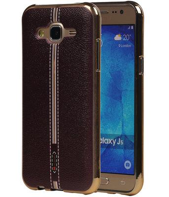 M-Cases Bruin Leder Design TPU back case voor Hoesje voor Samsung Galaxy J5 2015