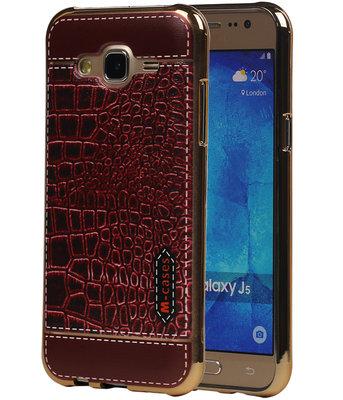 M-Cases Bruin Krokodil Design TPU back case voor Hoesje voor Samsung Galaxy J5 2015