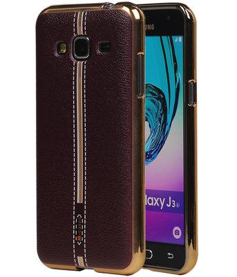 M-Cases Bruin Leder Design TPU back case voor Hoesje voor Samsung Galaxy J3 2016