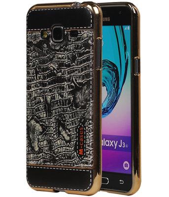 M-Cases Zwart Krokodil Design TPU back case voor Hoesje voor Samsung Galaxy J3 2016