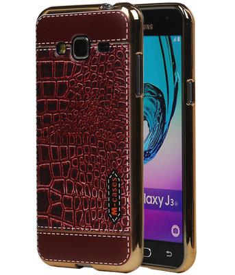 M-Cases Bruin Krokodil Design TPU back case voor Hoesje voor Samsung Galaxy J3 2016