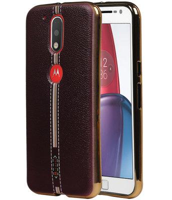 M-Cases Bruin Leder Design TPU voor Hoesje voor Motorola Moto G4 / G4 Plus