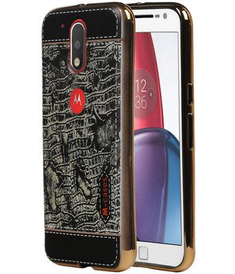M-Cases Zwart Krokodil Design TPU voor Hoesje voor Motorola Moto G4 / G4 Plus