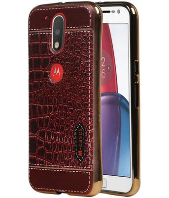 M-Cases Bruin Krokodil Design TPU voor Hoesje voor Motorola Moto G4 / G4 Plus